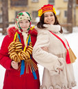 Girls celebrating shrovetide at russia two happy Royalty Free Stock Photos