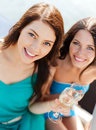 Girls with champagne glasses on boat summer holidays and vacation or yacht Royalty Free Stock Photography