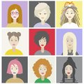 Girls characters set with different hairstyles.Colorful illustration