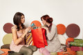 Girls checking up shoppings on a sofa Royalty Free Stock Photography