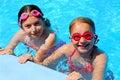 Girls children pool Stock Image