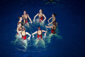 The girls in a circle in pool at show olympic champions moscow dec synchronized swimming sports complex on december Stock Photography