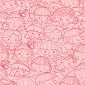 Girls in the crowd seamless pattern background vector with hand drawn elements Stock Image