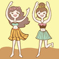 Girls dancing hula cartoon illustration Stock Photo