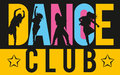 Girls dancing modern dance styles inside lettering dance club Royalty Free Stock Photo