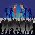 Girls dancing, night club Royalty Free Stock Photos