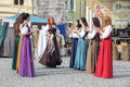 Girls dancing at sighisoara medieval festival july romania Royalty Free Stock Photography