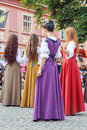 Girls dancing at sighisoara medieval festival july romania Royalty Free Stock Photo