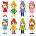 Girls in different clothes Royalty Free Stock Photos