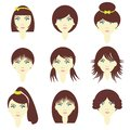 Girls with different hairstyles Royalty Free Stock Photography