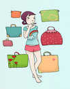Girls in doubt with luggage Stock Photography