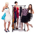 Girls in dresses boutique Royalty Free Stock Images