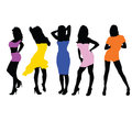 Girls in dresses vector illustration black silhouette Royalty Free Stock Photo