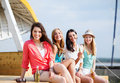Girls with drinks on the beach summer holidays and vacation Stock Photography