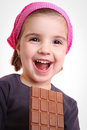 Girls eat chocolate Stock Photo