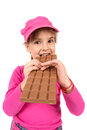 Girls eat chocolate on the white Stock Photos