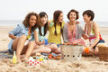 Girls Enjoying Barbeque On Beach Together Stock Images