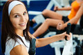 Girls exercising in gym Stock Photography