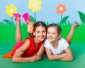 Girls fashion and beauty summer two lovely young wearing colorful clothing on theme Royalty Free Stock Images