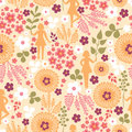 Girls among flowers seamless pattern background vector with girl silhouettes hand drawn colorful Royalty Free Stock Images