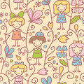 Girls with flowers seamless pattern background vector hand drawn elements Royalty Free Stock Photo