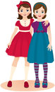 Girls friends vector illustration friendship teenage Royalty Free Stock Image