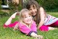 Girls in garden Royalty Free Stock Photo
