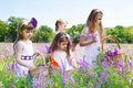 Girls gathering flowers Stock Image