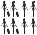 Girls girl with a suitcase and without a suitcase Royalty Free Stock Photography