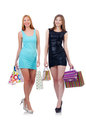 Girls after good shopping on white Royalty Free Stock Photography