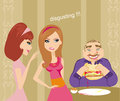 Girls gossiping about fat guy illustration Royalty Free Stock Images