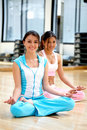 Girls at the gym - yoga Stock Image