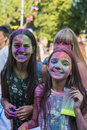 Girls  have fun during the festival of color Royalty Free Stock Photo