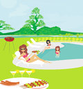 Girls having a barbeque party illustration Royalty Free Stock Photos