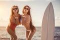 Girls having fun on beach Royalty Free Stock Photo