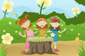 Girls having a garden party vector illustration of happy Royalty Free Stock Image