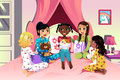 Girls having a sleepover vector illustration of multi ethnic Stock Photo