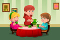 Girls having a tea party vector illustration of cute together Royalty Free Stock Photos