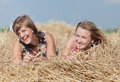 Girls on hayloft Royalty Free Stock Images