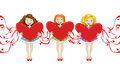Girls with hearts valentines and ribbons valentine s day Stock Photo