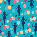 Girls holding balloons seamless pattern background vector with hand drawn elements Royalty Free Stock Photos