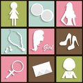 Girls icons with long shadow Royalty Free Stock Image