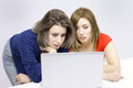 Girls on laptop two busy horizontal portrait with copy space Royalty Free Stock Photos