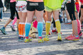 Girls legs in bright sneakers ekaterinburg russia august during marathon from europe to asia ekaterinburg russia august Stock Image
