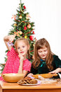 Girls making  cookies Royalty Free Stock Photo