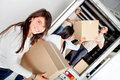 Girls moving house Stock Photo