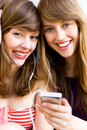 Girls with mp3 player Royalty Free Stock Photo