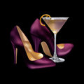 Girls Night Out Cocktail and Heels Royalty Free Stock Photo