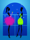 Girls night out fashion illustration of chic young women in evening dresses under the stars Stock Photos
