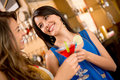 Girls night out having drinks and talking Royalty Free Stock Photo